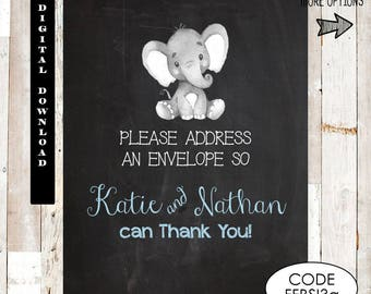 Please address an envelope.  Printable Elephant Baby Shower, Baby Shower address an envelope request, Chalkboard Baby Shower, Sign. Thanks
