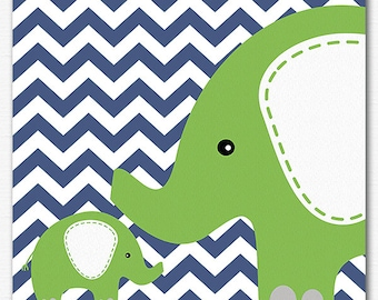 Navy green elephant nursery Art Print - 8x10 - Children wall art, baby boy wall decor, baby boy wall art, baby elephant, chevron - UNFRAMED