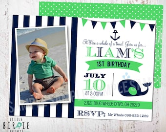 Whale INVITATION Birthday Party Nautical Preppy Whale Nautical Invitation Anchor Printable Kelly Green First Birthday or any age