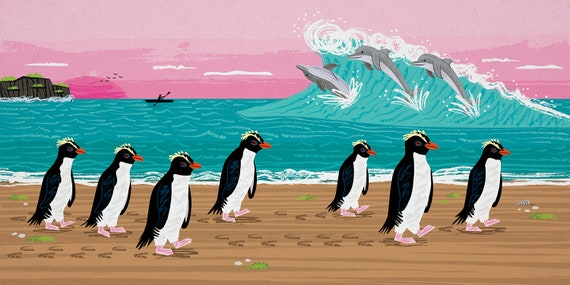 Penguins and Dolphins - Nature / Wildlife - Childrens Art - Animal Art -  Kids Art - Limited Edition Art Poster Print by Oliver Lake