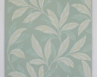 1940s Vintage Wallpaper Botanical White Yellow Leaves on Green by the Yard