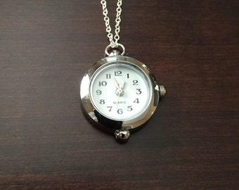 Silver Clock Necklace, necklace, clock, clock necklace, clock necklaces, clock jewelry, clock pendant, silver necklace, silver, jewellery