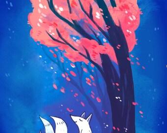 fox kitsune 5 by 7 print, illustration, art print, wallart