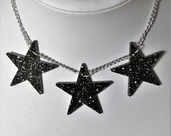 Starry Night Glitter Party Christmas Winter Black Star Necklace