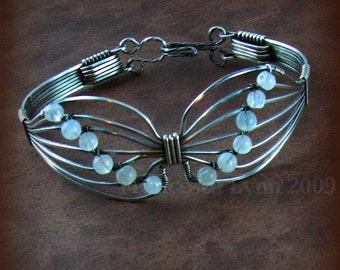 BUTTERFLY Wire Wrapped Bracelet - Sterling Silver with Moonstone Beads, symbol of survivor, transformation and rebirth, Made to Order