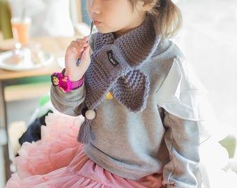 Children baby knitted scarf, cross tied neck warmer , winter scarf, tassel scarf
