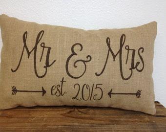 Mr & Mrs burlap pillow with est. date and arrows - 12X20 -  lumbar - wedding decor
