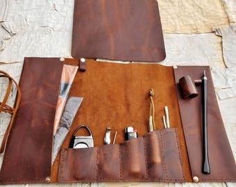 THE DOYLE     ~     leather pipe cigar case pouch roll holder
