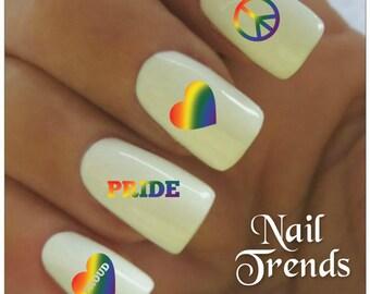 Pride Nail Decal 20  Vinyl Adhesive Decals Nail Tattoos  Nail Art
