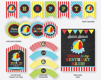Instant Download, Beach Ball Party Package, Beach Party Package, Beach Birthday Package, Pool Party Pack Printables, Chalkboard (CKB.108)