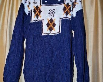 Paris Sport Club Vintage Sweater Unique Nordic Style Medium