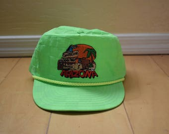 Vintage 80s Neon Green Day Glo Embroidered Adjustable Trucker Hat Baseball Cap