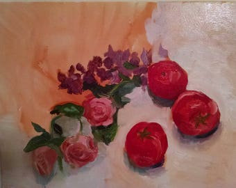Still life with flowers and Tomatoes.