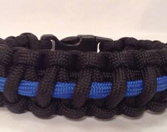 Police Thin Blue Line Tactical 550 Paracord Survival Bracelet  (See description for size suggestion)