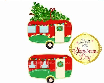 ON SALE Vintage Christmas Caravan Clip Art., Christmas Car Clip Art, Retro Christmas Caravans Clip Art, Christmas Campervan ,Vintage camper