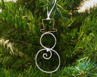 Bicycle Spoke Christmas Ornament - Snowman