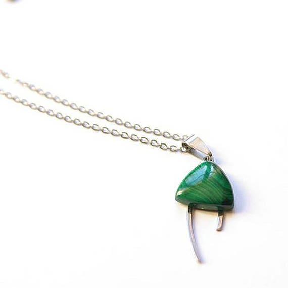 Malachite Jewelry, Gemstone Necklace, Pendant Cabochon, Malachite Gift for Her, birthstone