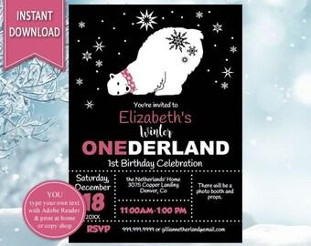 First Birthday, Winter Onderland, Winter Birthday, Winter Wonderland, 1st Birthday,Winter Onderland,Printable Invitation,Onederland Birthday
