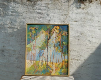 Beautiful Vintage Abstract Oil on Canvas Painting Sun Shining Through Trees in Woods Rustic Farmhouse Decor - signed