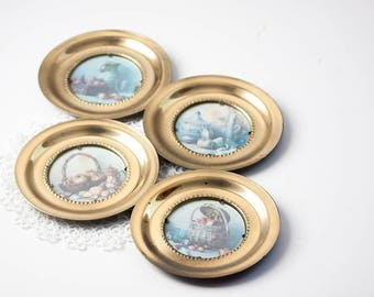 Round Brass Frames with Still Life Pictures