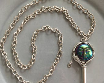 Moon Face Key Necklace Skeleton Key Celestial Jewelry Boho Fashion