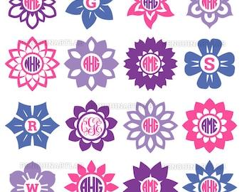 Flower Circle Monogram Frames - Summer Flowers SVG Cut Files for Cutting Machine - Cricut, Silhouette Studio - svg, eps, dxf, png, studio3