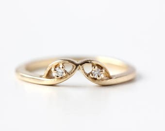 14k Recycled Gold Diamond Petal Crown Ring - Curved Wedding Band - Diamond Contour Wedding Band - Crown Ring - Dainty Stacking Ring