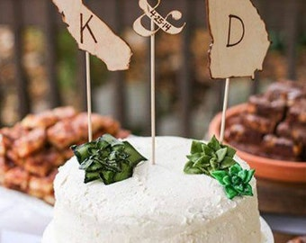 Wood Cake Topper - Cake Toppers - Rustic Cake Topper - Personalized Cake Topper - Wedding Cake Topper - State Cake Topper Custom Cake Topper