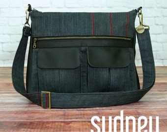 Swoon Patterns: Sydney Crossbody Bag - PDF Vintage Large Crossbody Purse Tote Handbag Sewing Pattern