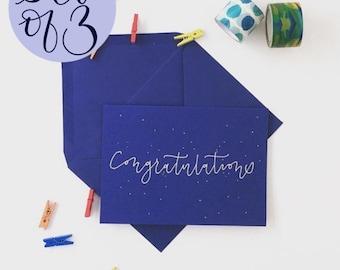 Set of 3 handwritten congratulations cards