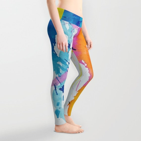 New Age Abstract Leggings, Drips Yoga Pants, Unique Fashion, Paint Splashes Yoga Leggings, Women, Teen Active Wear, Running Pants, Jogging