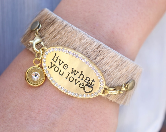 """Featured listing image: """"Live What You Love"""" Leather Cuff Bracelet"""