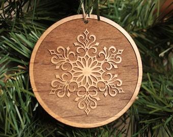 Wooden Snowflake Christmas Tree Ornaments. Rustic Ornaments.