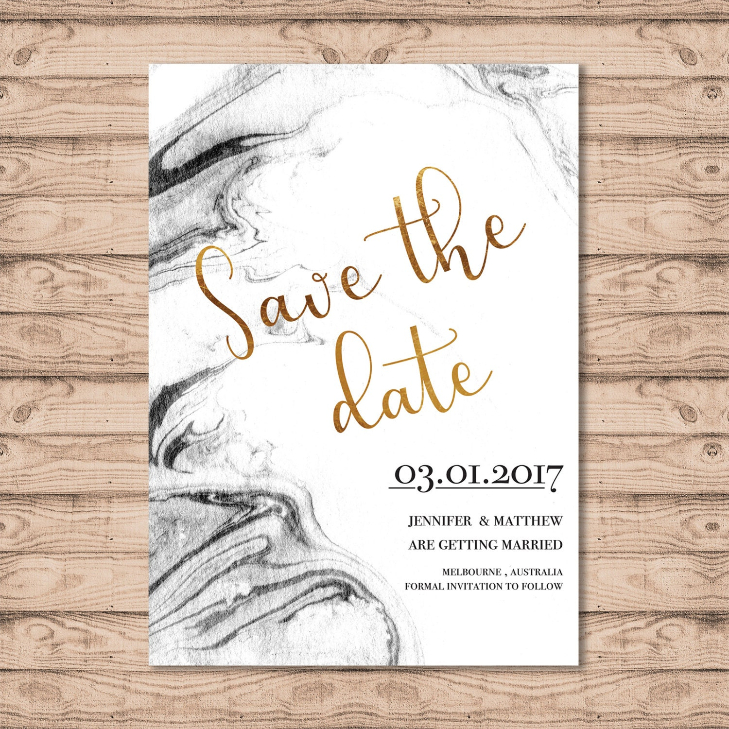 Marble Wedding Save The Date Card   Print At Home File Or Printed  Invitations   Marble Black And White   Faux Gold Foil Look Design