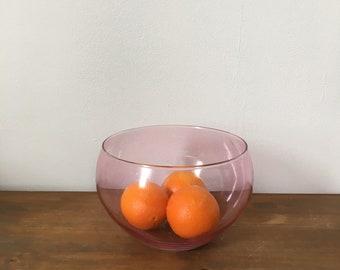 magenta glass fruit bowl