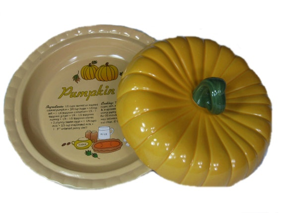 Vintage Covered Pumpkin Pie Plate With Recipe Dish Thanksgiving Fall Lidded From WonByOneVintage On Etsy Studio