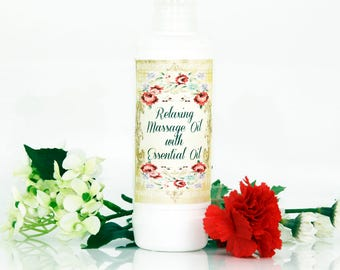 Relaxing massage oil with essential oils