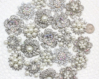21 pcs Assorted Rhinestones Pin Brooch, DIY Brooch Mixed Lot, Bridesmaid Gift, Wedding Accessory Embellishment