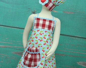 Kids Party Apron Blue Cherry - size 7-10 READY TO SHIP