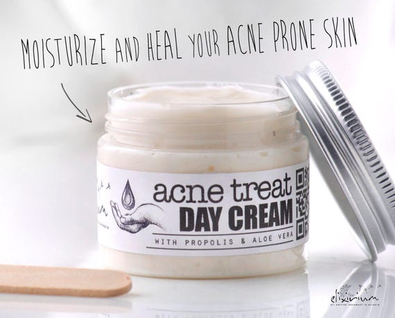 ACNE TREAT Day Cream • Organic Acne Treatment face cream with Propolis & Aloe Vera. • Elixirium Organic Skincare