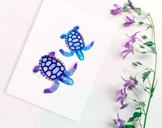 Turtle illustration, Sea turtle print, Australian turtle art, Girls room, Geometric turtle, Ocean nursery decor, Sea creatures, Baby decor