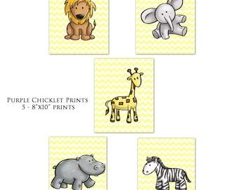 Giraffe Lion Elephant Hippo Zebra  Wall Art Yellow Chevron Nursery Room Decor Wall Art for Kids Room Jungle Animals Set of 5 Prints (126)