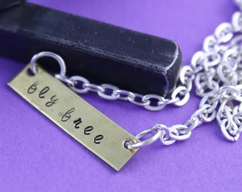 SALE - Silver Bar Necklace - Personalized Bar Necklace - Fly Free - Graduation Gift - Gift for Mother's Day