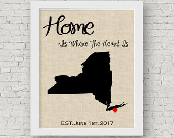 Personalized home State Print, state to state print, housewarming gift, new house gift, Wedding gift new home State Print, Going Away Gift.