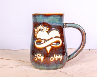 Handmade Personalized Pottery Mug for Mom, Always Love Infinity Pottery Handmade Coffee Mug