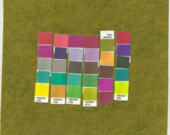 Pantone Color Study Avocado. Original paper and fiber collage art. Colorful. Grid.
