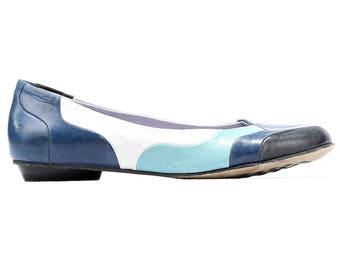 Women Us 7 Blue Ballerinas 90s Color Block Vivid Flat Shoes Soft Leather Low Heel Shoes Slip On 1990s Vintage High Quality UK 4.5 EUR 37