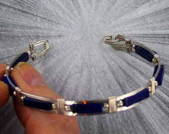 Lapis Lazuli Gemstone Bracelet in  Sterling Silver  size  5 to 9  Wire Wrapped, Bangle bracelet, gemstone bracelet