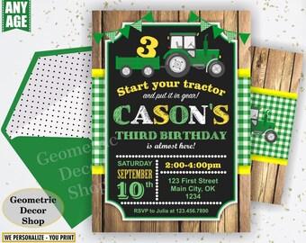 Tractor Birthday Invite, Tractor Invitation, Tractor Birthday Invitations, Yellow Woodland Green Plaid Boy Photo Photograph Farm BDT19/20
