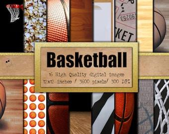 Basketball Digital Paper - Scrapbook Paper - Digital Paper - Basketball Paper- Basketball Scrapbook Paper - Basketball - Sports (DP-2)